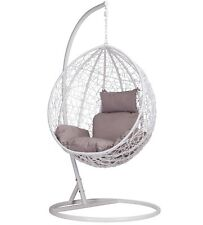 RATTAN SWING PATIO GARDEN WHITE WEAVE HANGING EGG CHAIR & CUSHION OUTDOOR INDOOR