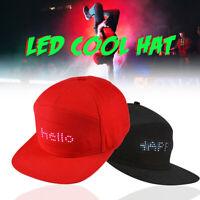 ❤ DIY LED Display Cap Cool Hat Screen Light Glow Club Party Baseball Hip-hop