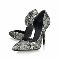 KURT GEIGER LONDON STILETTO SILVER GLITTER & BLACK SHOES  UK 4.5 / 5   37.5 / 38