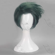 Anime JoJo's Bizarre Adventure Rohan Kishibe Short Dark Green Cosplay Wig N004