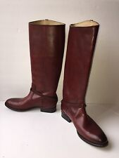 Frye Lindsay Plate Red Leather Knee High Riding Boot Style 76976 US 6 B EU 36