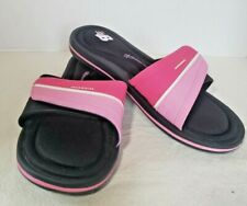 New Balance Womens Slide Sandals Size 9 Pink and White Hook & Loop
