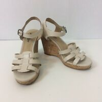 "Lucky Brand Womens Willows Nude Cork Wedge Sandals Shoes Size 8 3.75"" Heel"