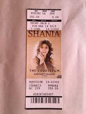 Shania Twain Concert Ticket Stub Unused March 19, 2013 Caesars Palace Las Vegas