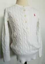 Ralph Lauren Girls Cable Sweater Pullover White Size S 7 NWT