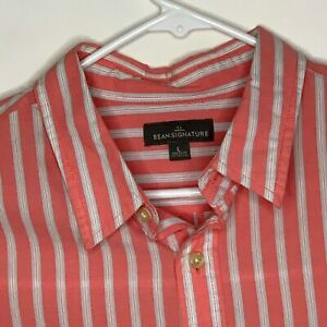 LL Bean Signature Mens Designer Shirt LS Pink White Striped Large