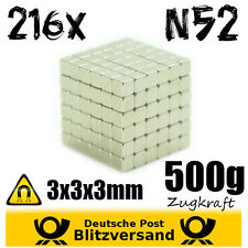 216x Neodym Magnet Würfel 3x3x3mm N52 Whiteboard Magnete Bastelmagnet stark