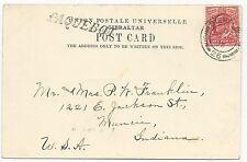 Great Britain Scott #128 on Post Card Paquebot Gibraltar Cancel Feb 27, 1905
