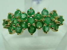 PRETTY 9CT YELLOW GOLD EMERALD CLUSTERS BAND STYLE RING