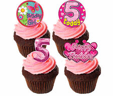 5th Birthday Girl Edible Cupcake Toppers,  Pink Stand-up Fairy Cake Decorations