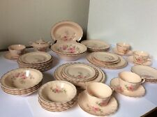 Vint 1935 Taylor Smith & Pink Porcelain Garland Shabby Dish set orchid flower