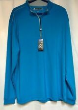 PEBBLE BEACH Performance Men's LS 1/4 Zip Golf Pullover Poly Blue Nwt Size M