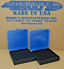 (2) 9 Mm / 380 Ammo Boxes / Storage (Blue / Black Color) Berry Mfg