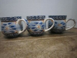 Temp-tations By  Tara Old World Blue 12oz Coffee Cup Mug Set of 3