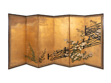 """Japanese A Pair 18th C Hand painted Folding Screen """" Flowers and Fence"""" Part Two"""
