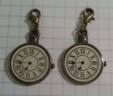 "2 CHARMS "" SMALL CLOCKS"" LOBSTER ANTIQUE GOLD PLATED FOR  HANDBAGS / PURSES"