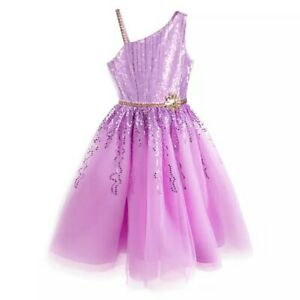 Disney Store Rapunzel Fancy Party Dress Girls Tangled Organza Sequin Sz 5/6 NEW