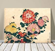"Beautiful Japanese Floral Art ~ CANVAS PRINT 8x10"" ~Hokusai Chrysanthemums"