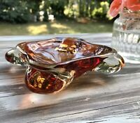 Murano 60er 70er Jahre groß Aschenbecher Ascher Schale Glas Rot Bernstein Amber