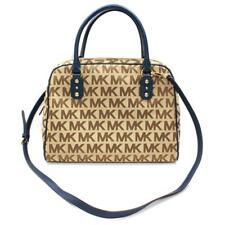 Michael Kors MK Signature Jacquard Large Satchel/ Shoulder Bag Navy Blue $398