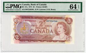 BANK OF CANADA - 2 Dollars 1974 - PMG 64 EPQ Choice Uncirculated - BC-47a