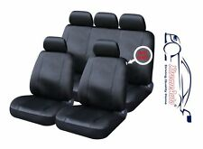 9 PCE Full Set of Black Leather Look Seat Covers for Dacia Logan, Sandero Solenz
