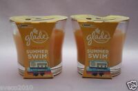 LOT 2 GLADE SOAK IT IN SUMMER SWIM SCENTED 1-WICK CANDLE PINK 3.8 OZ EA NEW