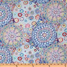 1/2 Yard Kaffe Fassett Millefiore - Pastel Blues Cotton Quilting Fabrics