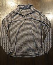 Lululemon Mens Cypress 1/2 Zip Pullover Shirt Black Gray Stripe sz M