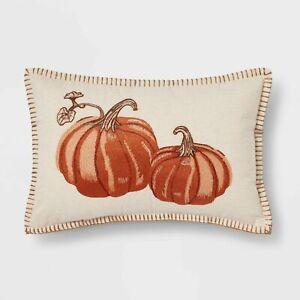 "Embroidered Pumpkin Lumbar 18"" Throw Toss Pillow Autumn Fall Harvest Decor Orang"