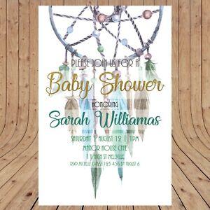 Personalised BABY SHOWER Boho Dreamcatcher Invitations  DIGITAL - YOU PRINT -