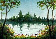 ACEO Original Watercolor Painting Lake