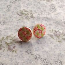 earrings Buttons Wooden Floral Vintage Retro Cute