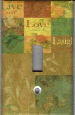 Live Love Laugh Mosaic With Flowers Home Wall Decor Light Switch Plate Cover