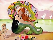 VINTAGE FRENCH ART DECO MERMAID #2 PARASOL BEACH CUPID *CANVAS* ART PRINT LARGE