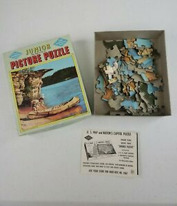 VTG Jr Built Rite 100 Piece CANOE TIME AT WISCONSIN DELLS PUZZLE 1950s COMPLETE