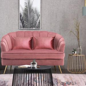 Velvet 2 Seater Loveseat Sofa Couch Settee Living Room Oyster Back Double Seat