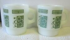 2 VINTAGE ANCHOR HOCKING FIRE KING OLIVE ABSTRACT FLOWER COFFEE CUPS MUGS