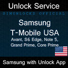 T-Mobile Samsung Galaxy S7 Edge S6 J7 Note 5 J7 On5 Grand Prime Unlock Service