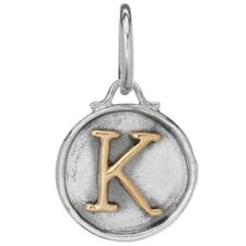 "Waxing Poetic Chancery Insignia Letter ""K"" Charm - Sterling silver and Brass"