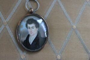 Excellent Abraham Parsell Miniature Portrait - Full Face Man, 1830, All Original