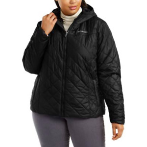 Columbia Womens Black Copper Crest Hooded Quilted Jacket Plus Size 1X $99 NwoT