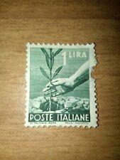 FRANCOBOLLO POSTE ITALIANE 1 LIRA MANO CHE PIANTA L'ULIVO