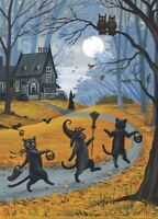 5x7 PRINT OF PAINTING BLACK CAT WITCH HALLOWEEN AUTUMN FOLK ART HAUNTED HOUSE