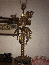 Italian Gold Vintage Florentine Toleware Metal Floral Hollywood Regency Lamp