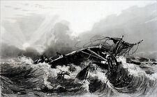 NAUFRAGE à la CÔTE d'AFRIQUE (par Garneray, corsaire & peintre) - Gravure du 19e