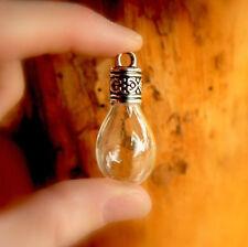 5 Glass WATER DROPS w/ornate caps tear/vials/pendants/miniature/bottles/wishing