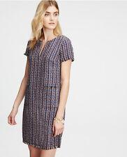 Ann Taylor - TALL Size 12T Navy Blue Tweed Shift Dress $149.00  (H)