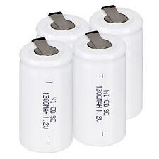 4PCS 1.2V 1300MA Rechargeable Battery NI-CD SC NIMH Battery White