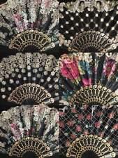 12 PC Spanish Style Black Dance Party wedding Gold Flower Folding Hand Held Fan